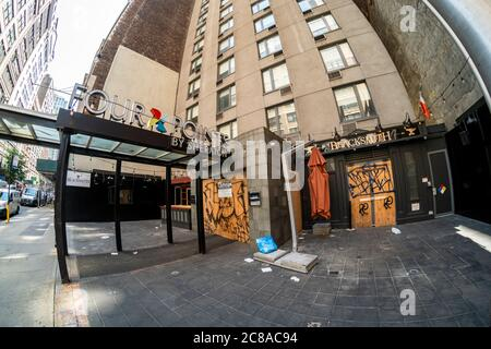The closed Four Points by Sheraton Hotel in the Chelsea neighborhood of New York on Tuesday, July 21, 2020. New York State is expected to lose over 200,000 jobs in the hospitality industry  due to the covid-19 pandemic shutdown. (© Richard B. Levine) - Stock Photo