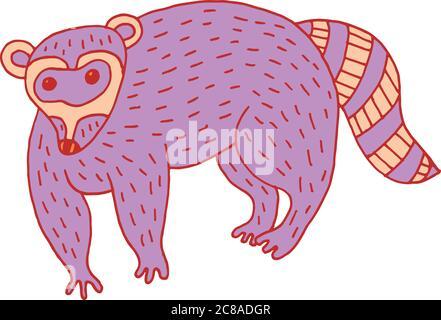 ПечатьForest animal raccoon doodle cartoon simple illustration. kids drawing style - Stock Photo