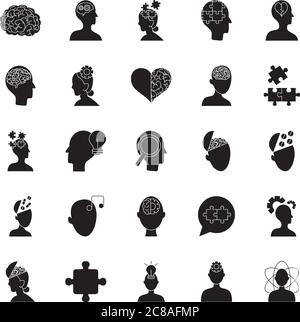 heart and mental health icon set over white background, silhouette style, vector illustration - Stock Photo