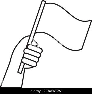 hand human with flag protest line style icon vector illustration design - Stock Photo