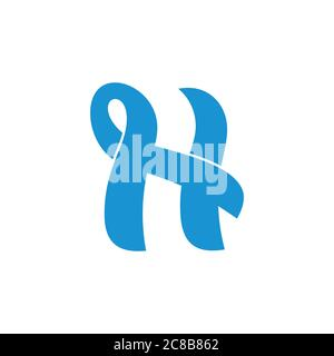 abstract letters nh linked curves design logo - Stock Photo