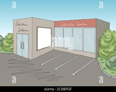 Grocery store shop exterior graphic color sketch illustration vector - Stock Photo