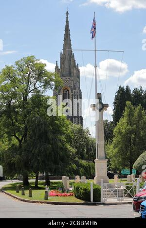 The All Saints Church with the War Memorial in Marlow, Buckinghamshire, UK - Stock Photo