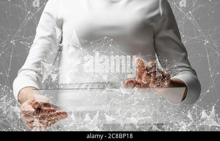 Businesswoman works with futuristic interface