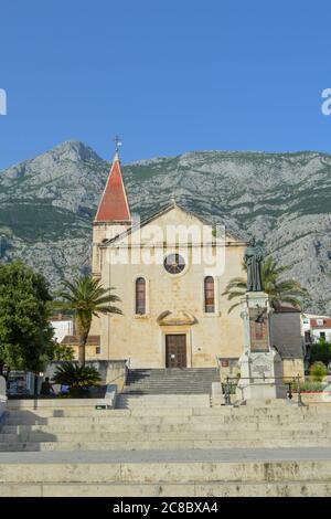 MAKARSKA, CROATIA - JUNE 9: Saint Marka Cathedral in Makarska on June 9, 2019. - Stock Photo