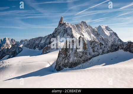 Mont Blanc - View from Punta Helbronner on the Gigante glacier and the Dente del Gigante group with the Rochefort ridge up to the Grandes Jorasses - Stock Photo
