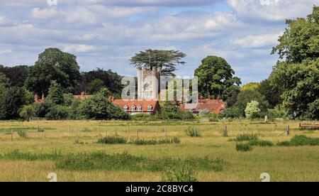 English Landscape with the Village of Hambleden in the Chiltern Hills - Stock Photo