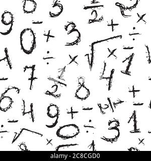 Doodle seamless pattern with numbers. Hand drawn black and white - Stock Photo