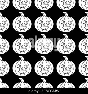 Halloween seamless pattern with pumpkin. Scary coloring page for - Stock Photo