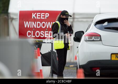 Glasgow, Scotland, UK. 23rd July, 2020. Pictured: People going to the covid19 field testing centre at Glasgow Airport. Credit: Colin Fisher/Alamy Live News - Stock Photo