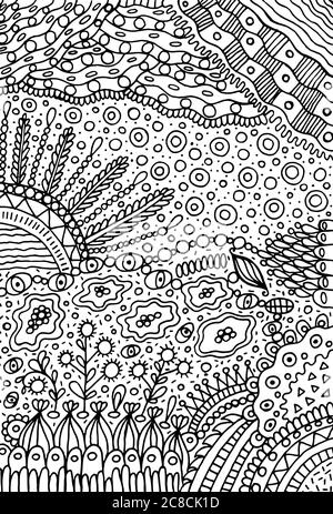 Psychedelic landscape. Coloring page for adults. Sea ...