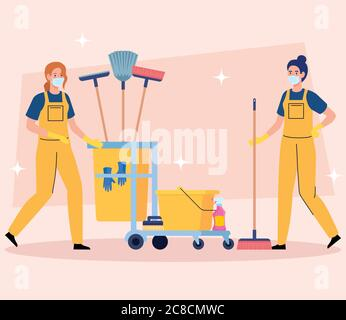 janitors team cleaning service, women cleaners in uniform working with professional equipment of cleaner - Stock Photo