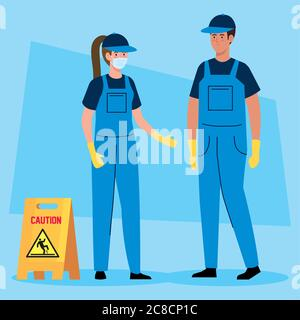 janitors team cleaning service, couple cleaners wearing medical mask, in uniform working with professional equipment of cleaner - Stock Photo