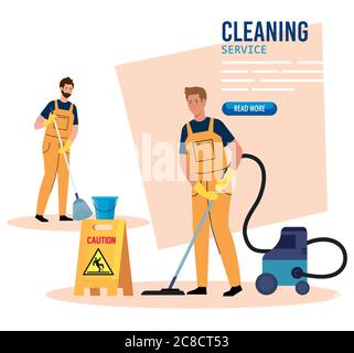 banner, janitors team cleaning service, men cleaners in uniform working with professional equipment of cleaner - Stock Photo