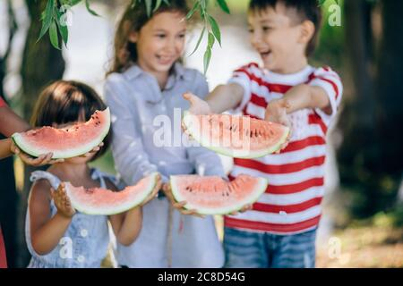 four happy smiling child eating watermelon in park. - Stock Photo
