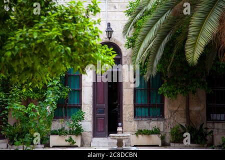 Damascus, Syria 03/28/2010: An old house called Maktab Anbar which was built in the famous  Damascene style in 19th century. Image was taken from the - Stock Photo