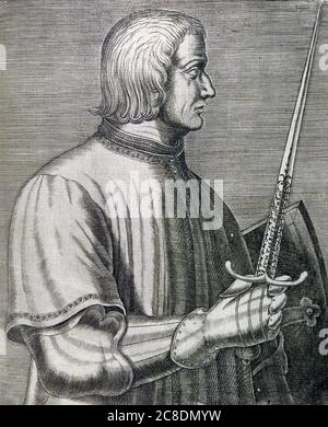 JOHN TALBOT, 1st Earl of Shrewsbury (c 1387-1453)  English nobleman and army commander during the Hundred Years War - Stock Photo