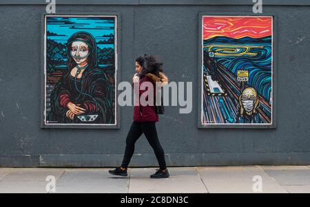 Glasgow, Scotland, UK. 23rd July, 2020. Covid collection posters showing artwork by Mandi Mix Up. From left they are entitled Corona Lisa and Scream Here. Credit: Skully/Alamy Live News - Stock Photo