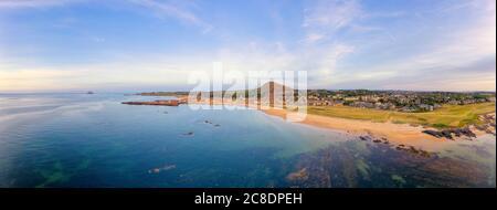 UK, Scotland, North Berwick, Aerial panorama of coastal town in summer