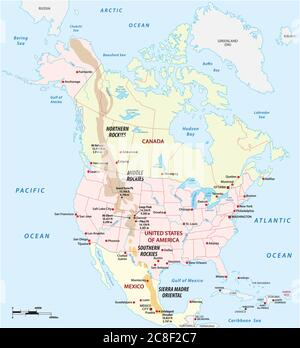 Vector outline map of the Rocky Mountains in North America - Stock Photo