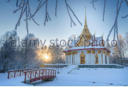 Thai paviljong with an bridge standing in utanede in Sweden - Stock Photo
