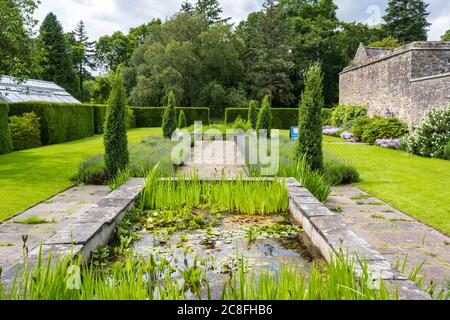 Lilly pond in formal garden at Falkland Palace in village of Falkland in Fife, Scotland, UK - Stock Photo