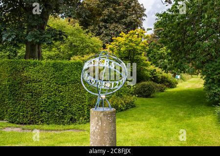 Sundial in formal garden at Falkland Palace in village of Falkland in Fife, Scotland, UK - Stock Photo