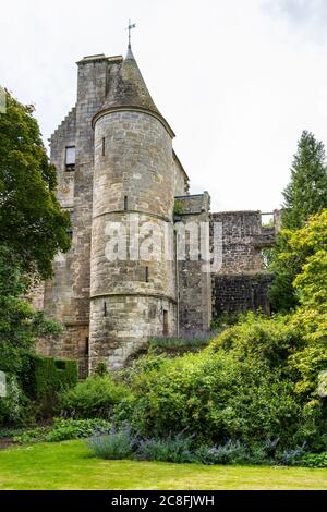 Cross House and rear of East Range viewed from formal garden at Falkland Palace in village of Falkland in Fife, Scotland, UK - Stock Photo