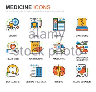Simple Set Medicine Line Icons for Website - Stock Photo