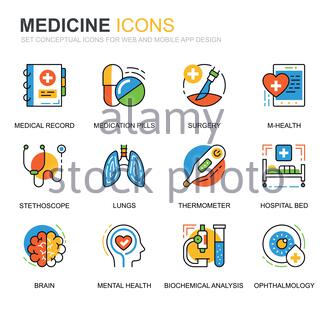 Simple Set Healthcare and Medicine Line Icons for Website and Mobile Apps. Vector pictogram pack. - Stock Photo