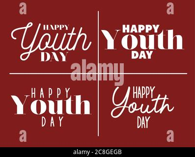 happy youth day lettering set design, Young holiday and friendship theme Vector illustration