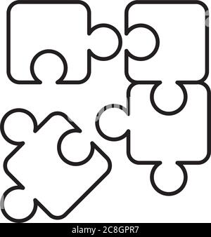 jigsaw puzzles icon over white background, line style, vector illustration - Stock Photo