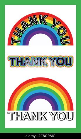 Set of Thank you text with rainbow - Stock Photo