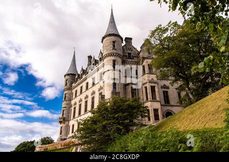 View of the beautiful Dunrobin Castle in Golspie. Dunrobin Castle is one of the best preserved castles in Scotland.