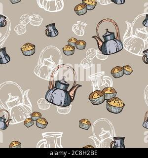 Teapots, cups and cupcakes seamless pattern hand drawn in old style. Tea time vector illustration. Food pattern - Stock Photo