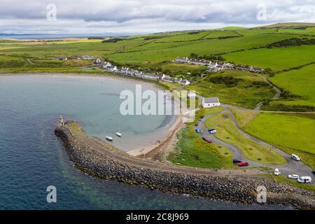 Aerial view of Port Logan, Dumfries & Galloway, Scotland. .