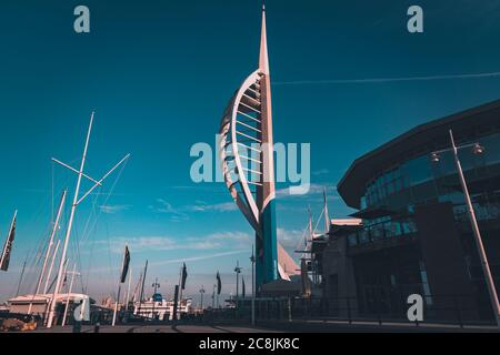 The Emirates spinnaker tower and Eden restaurant and nightclub inside Gunwharf Quays Portsmouth - Stock Photo
