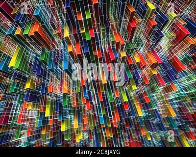 Abstract and colorful background image. Geometric shapes and lines scattered randomly in concept of complexity. 3D illustration.