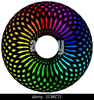 Colorful circular design illustration. Multi color circular design digital art/illustration. Colorful spherical design illustration. Multi coloured sp - Stock Photo