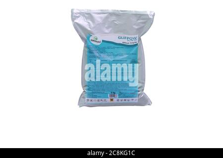 Moldova, Tiraspol - May 14, 2019: Plant protection product - Glifpow. Isolate on a white background.