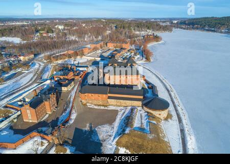 Top view of the complex of buildings of the old prison fortress of  Hameenlinna on a sunny March day. Finland - Stock Photo