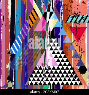 abstract geometric background, with triangles, stripes, paint strokes and splashes - Stock Photo