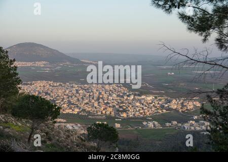 View to Iscal village from Mount Precipice, Nazareth, Israel - Stock Photo