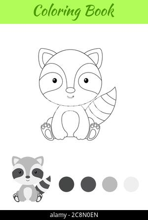Coloring page little sitting baby raccoon. Coloring book for kids. Educational activity for preschool years kids and toddlers with cute animal. - Stock Photo