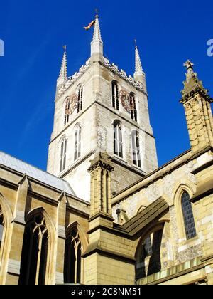 Southwark Cathedral London Bridge England UK largely rebuilt in a Norman Gothic style and has a memorial to William Shakespeare and is a popular touri - Stock Photo