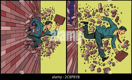 Businessman breaks through a brick wall - Stock Photo