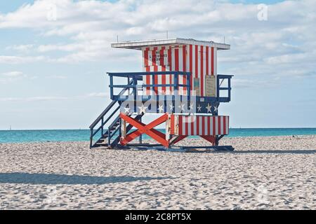 miami beach typical lifeguard tower stars and stripes painted on the beach