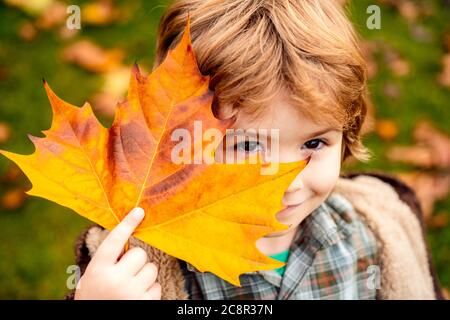 Child covers his eyes with a yellow maple leaf in the autumn park. Happy kid, little boy, playing in beautiful autumn park on warm fall day. Kids play