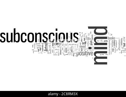 Word Cloud Summary of Mind Power Tap the Magnificent Power of Your Subconscious Mind Article - Stock Photo