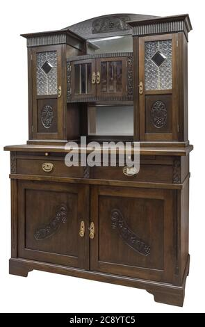 Old vintage cupboard with stained glass. Old wooden cabinet isolated on white background - Stock Photo